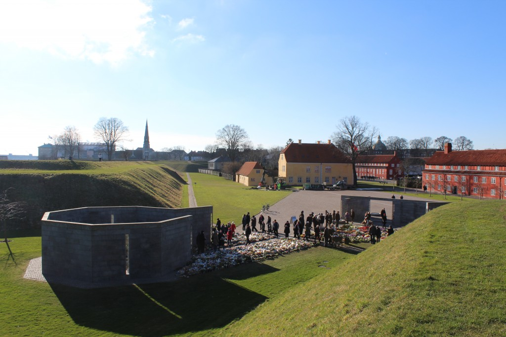 Fortress Kastellet with ramparts. View from top of Princess bastion to Monument
