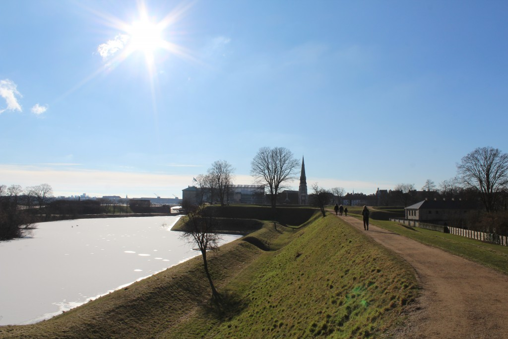 Fortress Kastellet with ramparts and moats. View in direction south to Copehagen Inner Harboru with 2 cranes of former shipyard of Naval Base Holmen (1680-1989). Phoot 22. february 2018 by Erik K Abrahamsen.