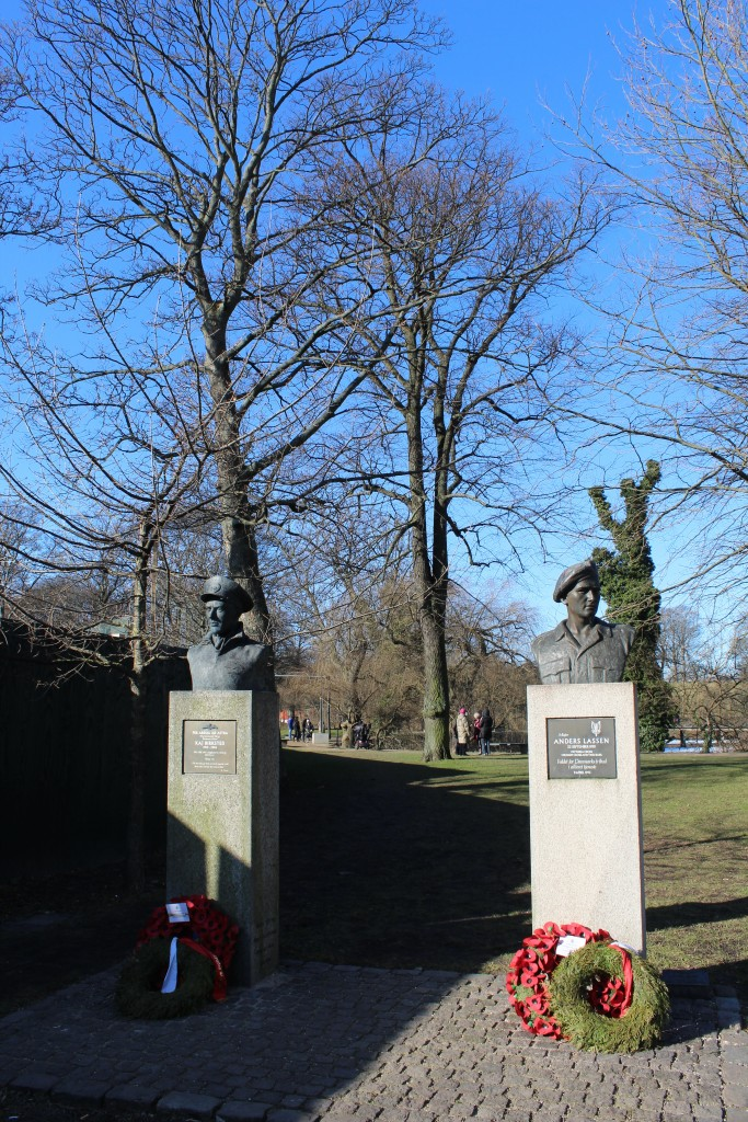 Churchil park with scuplturs of 2 danish resistance oldies under 2. World War. Photo 22. february 2018 by erik K Abrahamsen.