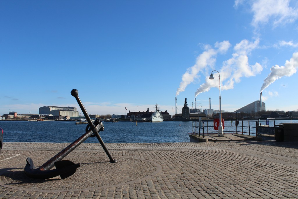 View fro Custom House to former Naval Base Holmen 1680-1989 with museumship Herluf Trolle built 1965 and Mastekranen built 1751. Photo in direction sour 22. february 2018 by erik K Abrahamsen