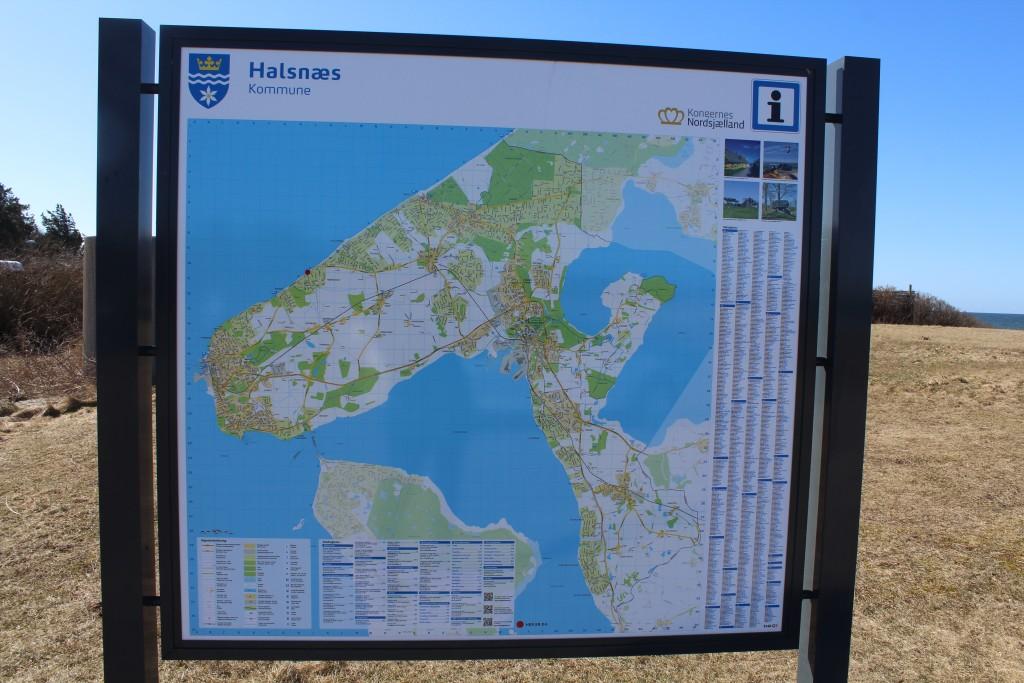 Kort over Halsnæs Kommune i Nordsjælland. Foto den 20. marts 2018 af erik K Abrahamsen.