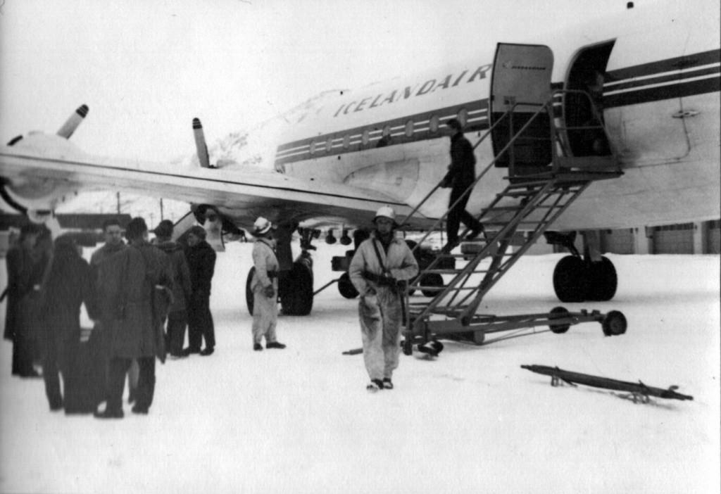 Ankomst Narsarsuaq Lufthavn den 2. marts 1961. Foto Melvin Erik Pedersen.
