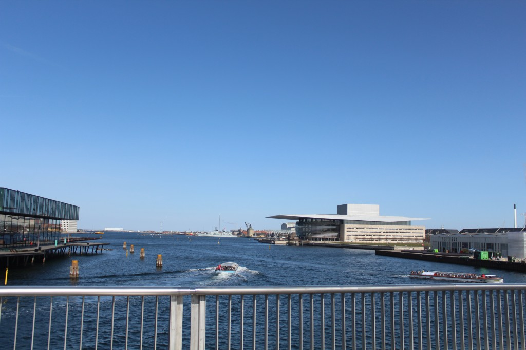 View from new 180 m lange walk-and bike slide bridge between Nyhavn and ordatlantens Bryhgge on Christianhavn.