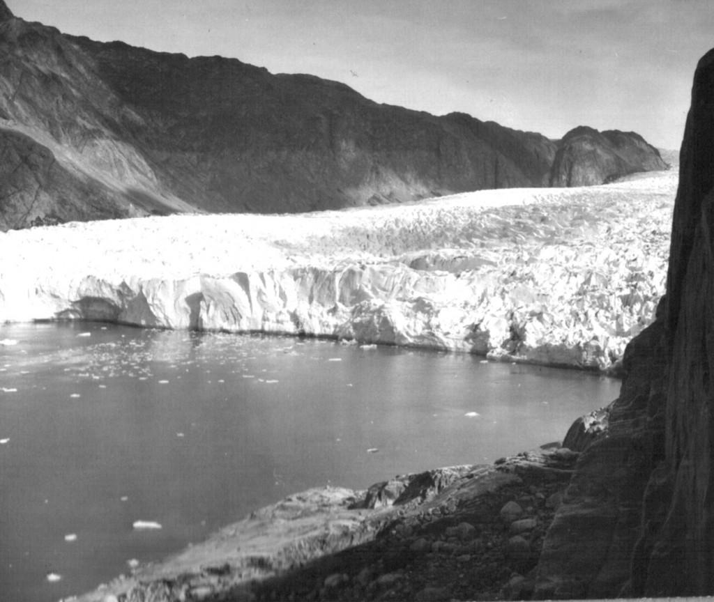 Udsigt fra alnd mod Arsuk Isbræ. Foto 1961