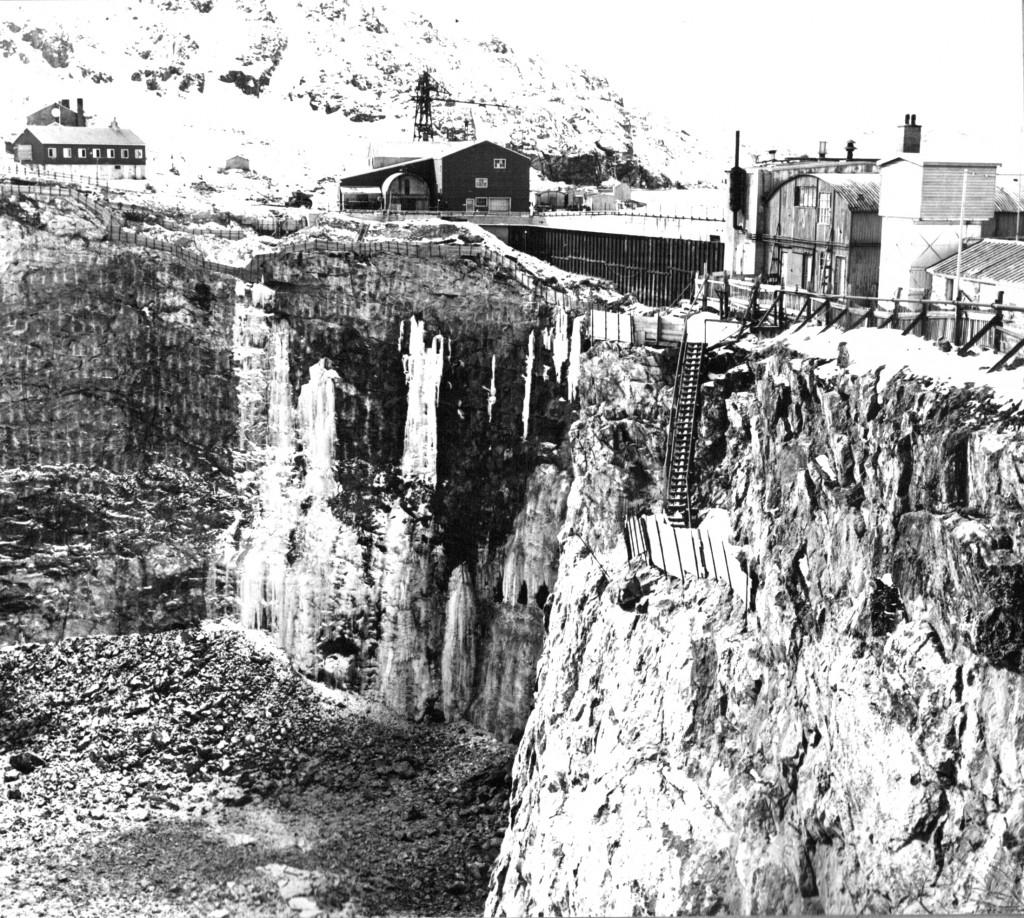 Kryolitbruddet i Ivigtut. Foto 1961.