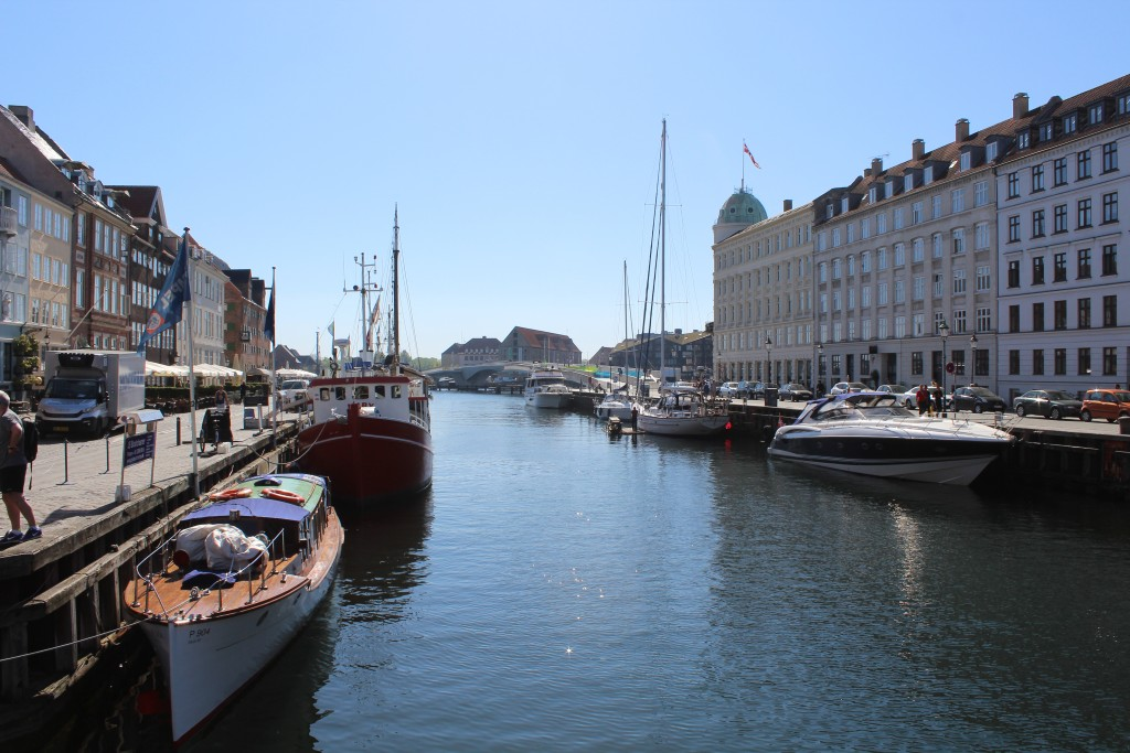Nyhavn - view in direction south to Copenhagen Inner Harbour with new 180 m long walk- and bike bridge.