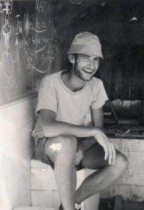Erik i Kibbuts Kfar Blom i Nord Israel i juli-august 197=. Jeg arbejde som frivilli frugtplukker, bygningsarbejder og gartner. Foto juli 1970.