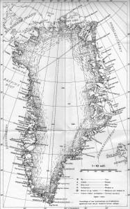 """Kort over Grønland. Scannet fro kort i publikationen """"Vejledning""""."""