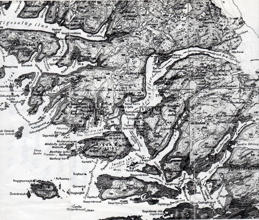 Kort over Arsukfjorden og den nærmeste omgivelser: Kangilinnguit/Grønnedal, Ivigtut, Arsuk, Arsuk Ø med Sydløbet, Ika-fjorden og Qornoq Fjord.