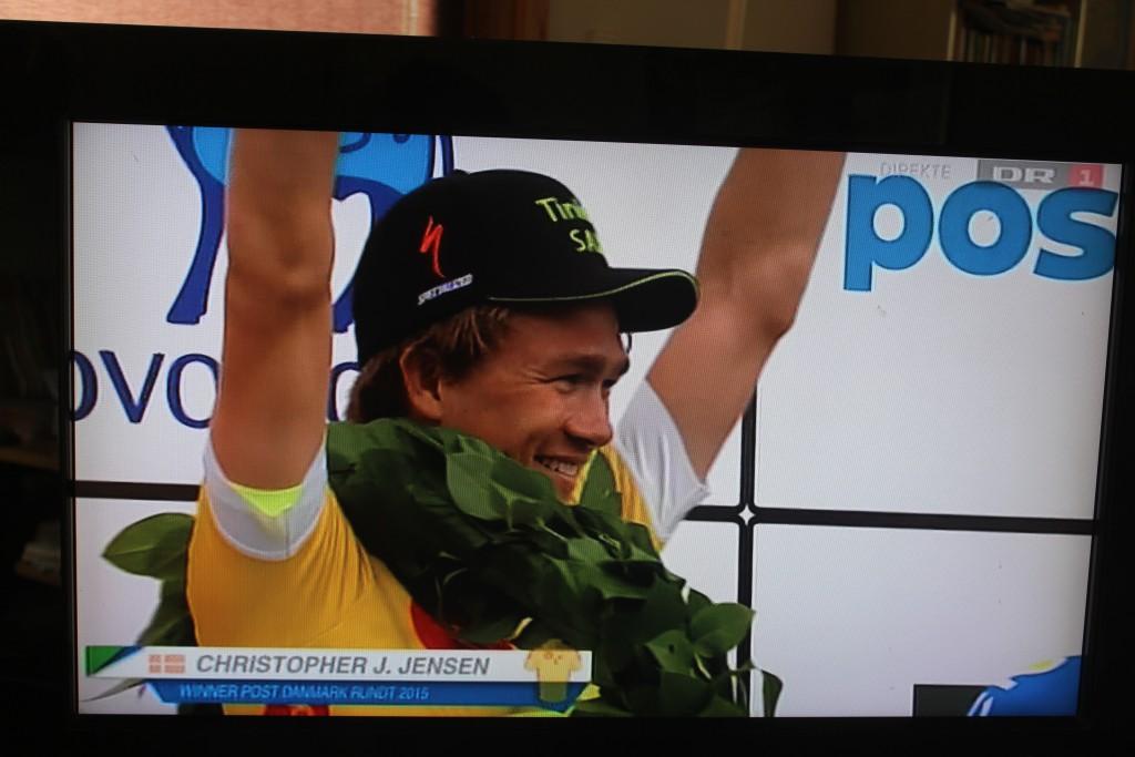 Vinder af Post danmark Rundt 2015 på Frederiksberg. Foto på TV den 8. sugust 2015 af Erik K Ab