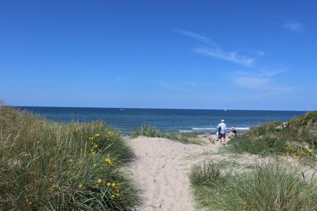 Liseleje Strand den sideste feriedag før skolestart. Foto i retnig nods mod Kattegat søndag den 9. august 2015 af Erik K Abrahamsen