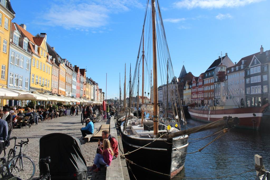Nyhavn, Copenhagen. Photo in direction soutn to Copengen Inner Harbour in the distance. Photo