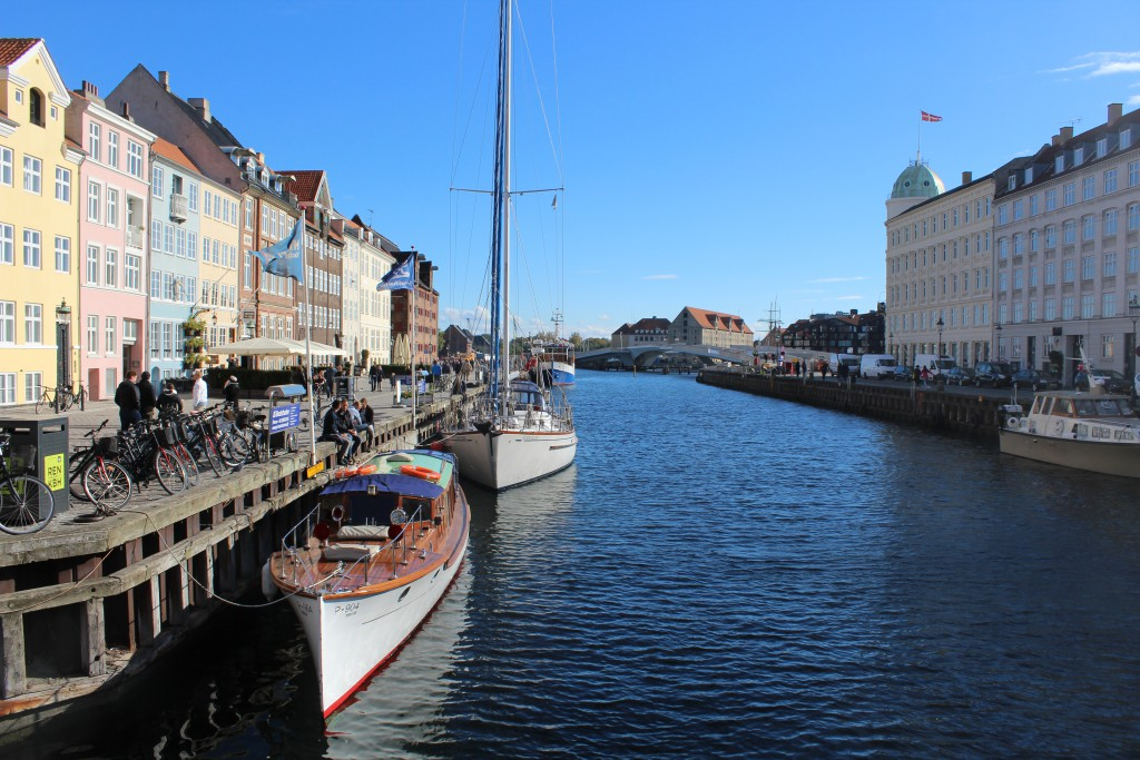 Nyhavn. View from bridge to new walk-and bike bridge passing Copenhagen Inner Harbour from Nyhavn to Christianshavn and the New OPERA from 2015