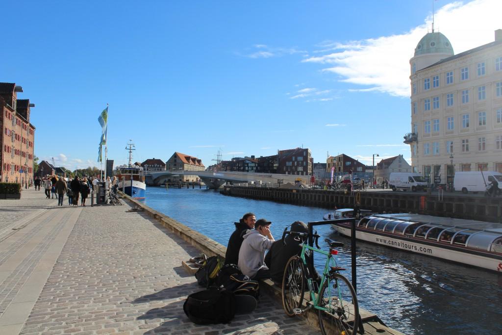 View to new walk-and bike bridge passing Copenhagen Inner Harbour from Nyhavn to C