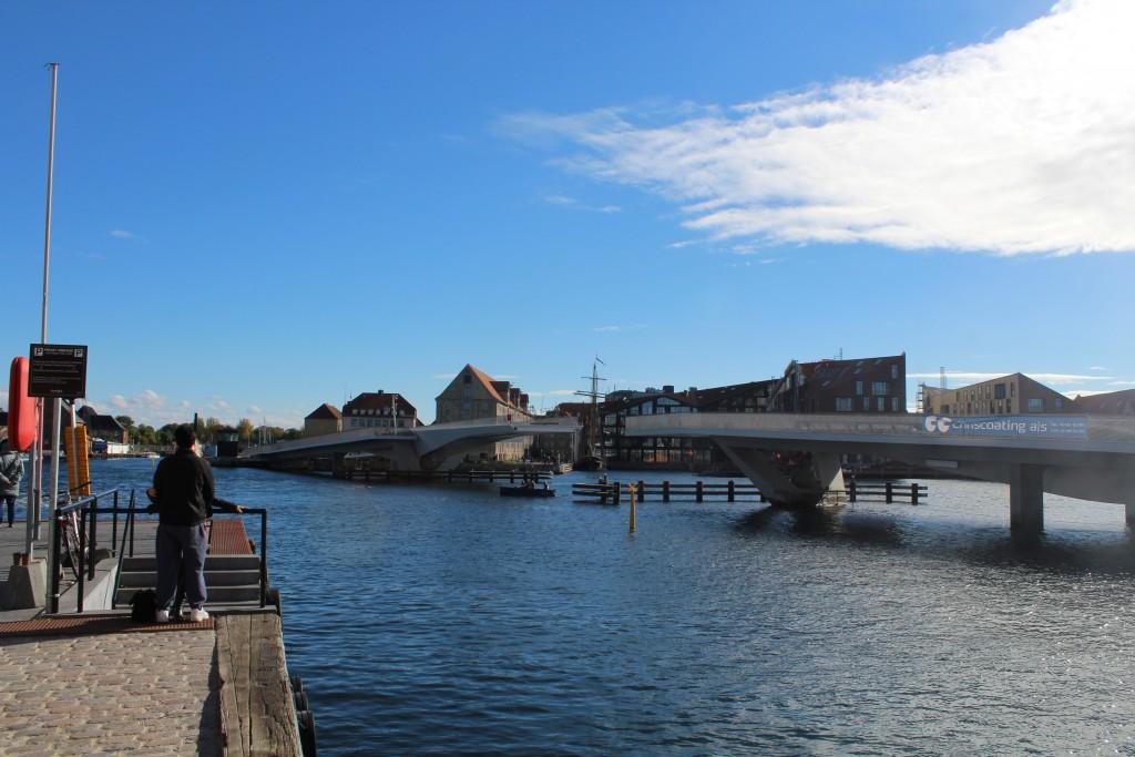 The new walk-and bike bridge passing Copenhagen Inner Harbour from Nyhavn to Christia