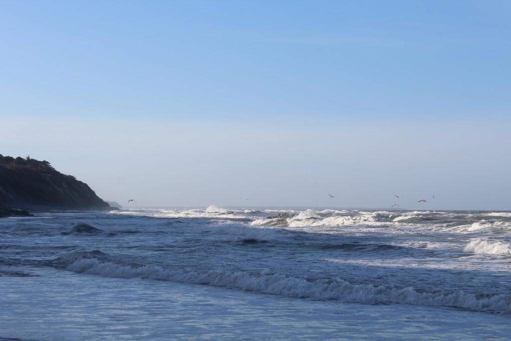 Hyllingebjerg Strand. Udsigt mod vest ud over Kattegat med Sjællands Odde helt ude i horisonten. Foto den 8. november 2015 kl 11-12 af Erik K Abrahamsern
