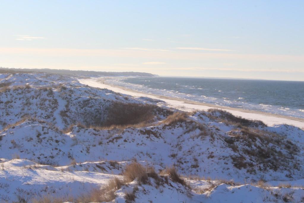 Tisvilde Hegn. Kattegat sea at Troldeskovens beach. Photo in direction west to Melby Overvrev, Asserbo Plantation and Liselej in horizon about 3 pm the 21. january 2016 by Erik K Abrahamsen.