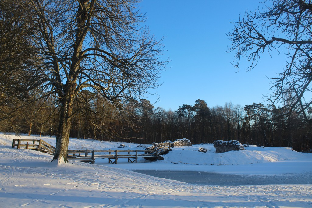 Asserbo Castle Ruin at parking place at entrance to Tisvilde Forest. Photo about 4 pm the 21. january 2016 by E