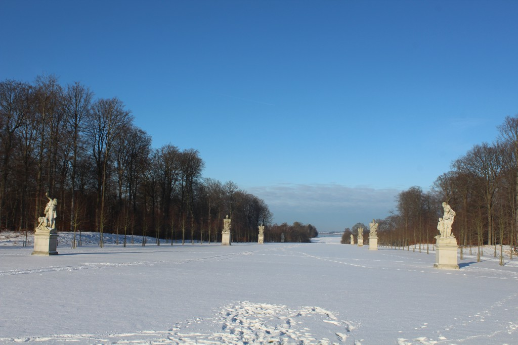 """""""Brede Allé"""" w created by architect J. H. Jardin 1760-70 with 8 sculptors by Johannes Wiedewelt 1760-70. Photo in direction north to Esrum Sea in the distance. Photo 22. january 2016 by Erik K Abrahamsen."""