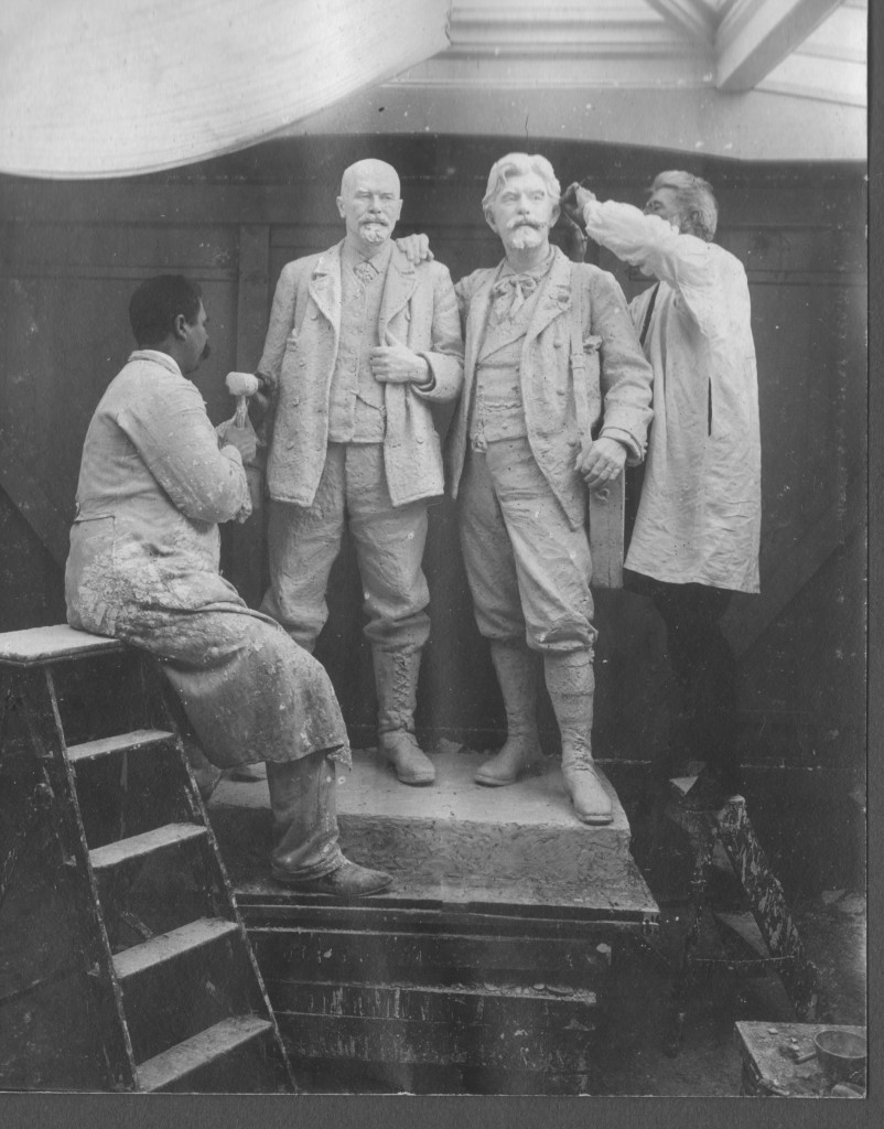 Laurits Tuxen right on photo works with his assistant on rubble stuatue oa Michael Ancher and P. S. Krøyer. Atelier in Villa Dagminne.