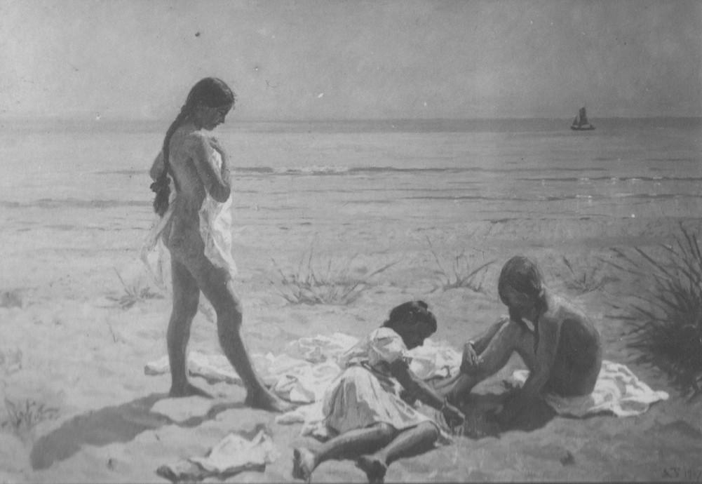 """Laurits Tuxen:""""Sommerdag på Skagen Strand med Figurer"""", 1907, sign L.T. oil on canvas"""