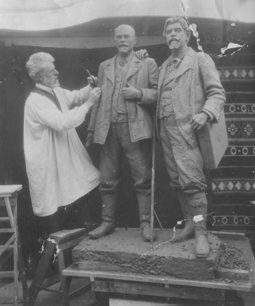 Laurits Tuxen work in his atelier in Villa Dagminne on 248 cm high dubble statue of Michael Ancker and P.:.Krøyer