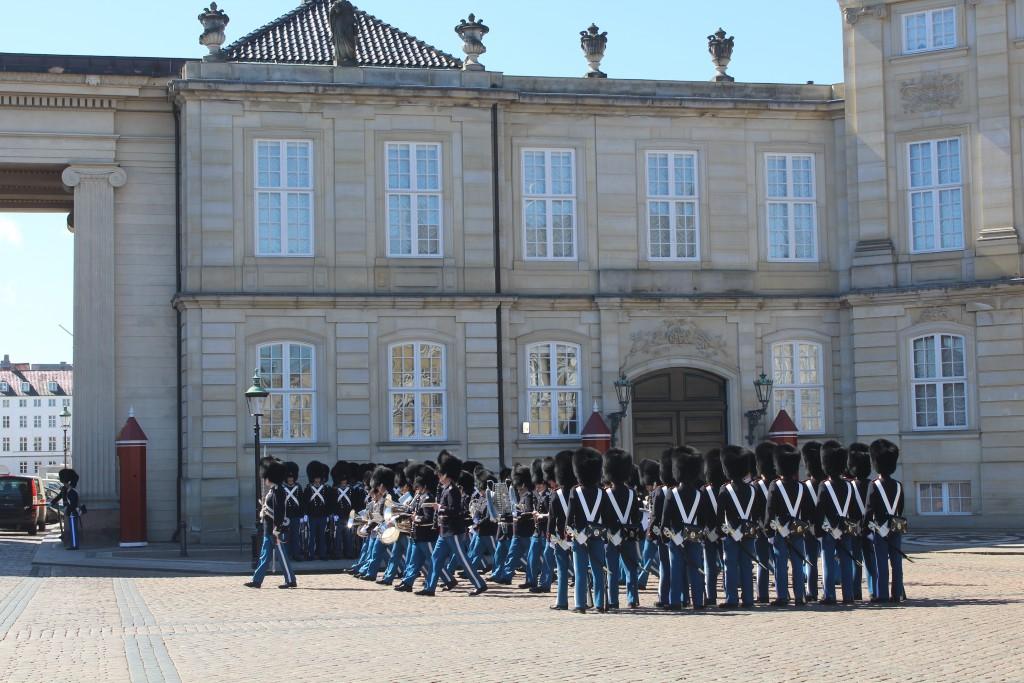 Changing the Queens Royal Guard on Amalienborg Castle. Photo 20. april 2016 by Erik K Abrahamsen.