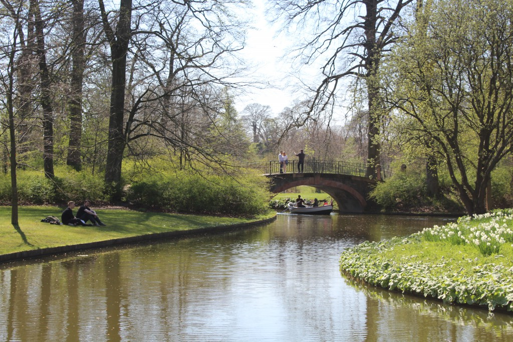 Frederiksberg Garden. View to bridge and a rowing boat in the romantics canals. Photo 2. may 2016 by Erik K Abrahamsen.