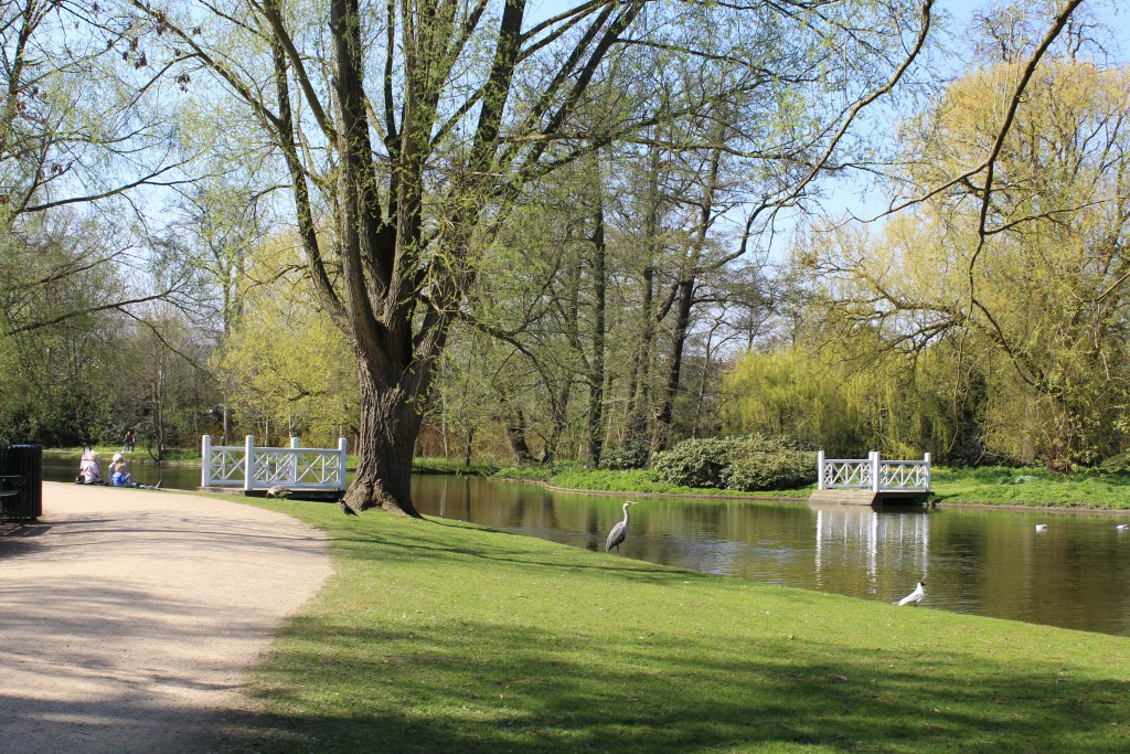 Frederiksberg Garden. View at right to bird island with regular rowing boats connections.
