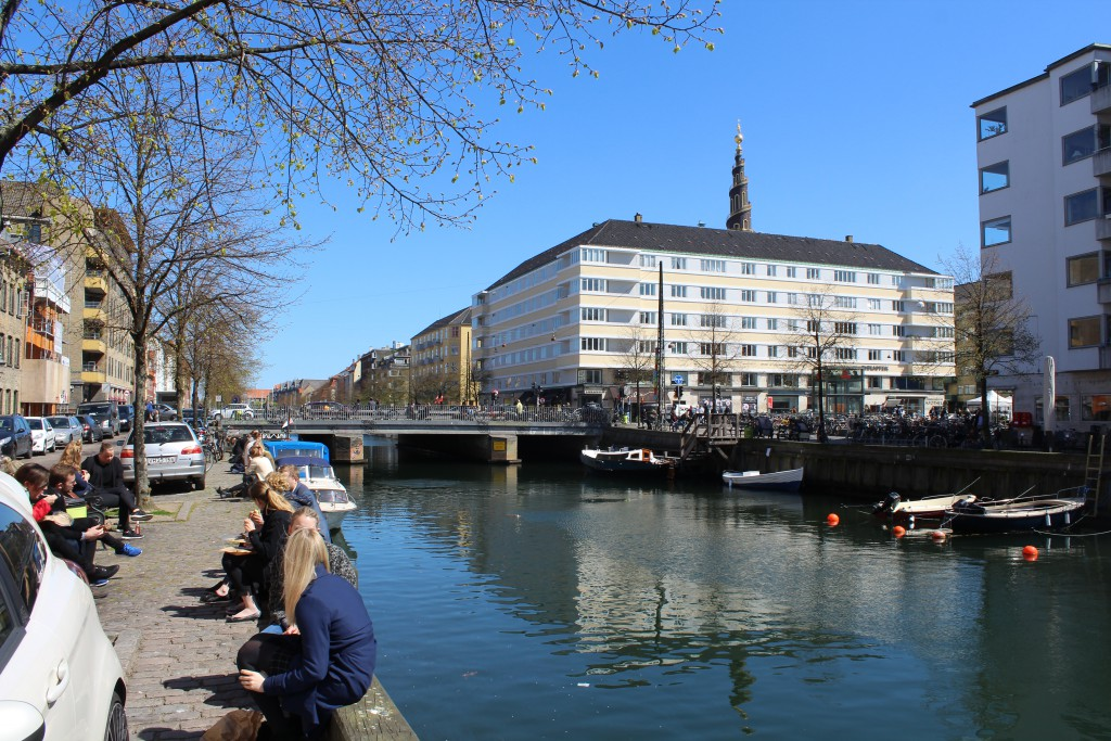 """View in direction east to Christianshavn Square, """"Bridge Torvegade passing Christiianshavn Canal and Spire of """"Our Savior Church"""". Photo 4. may 2016 by"""