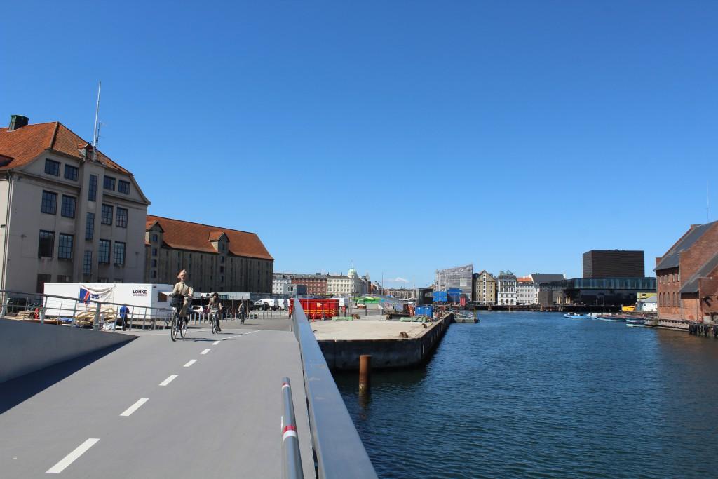 """View from walk- and bike bridge """"Trangravsbroen"""" in direction to Copenhagen Inner Harbour"""