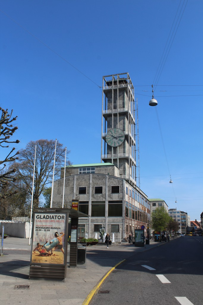 Aarhus Town Hall builder 1938-41 by architects Arne Jacobsen and Erik Møller. Twower is 60 meter high. Photo in direction south