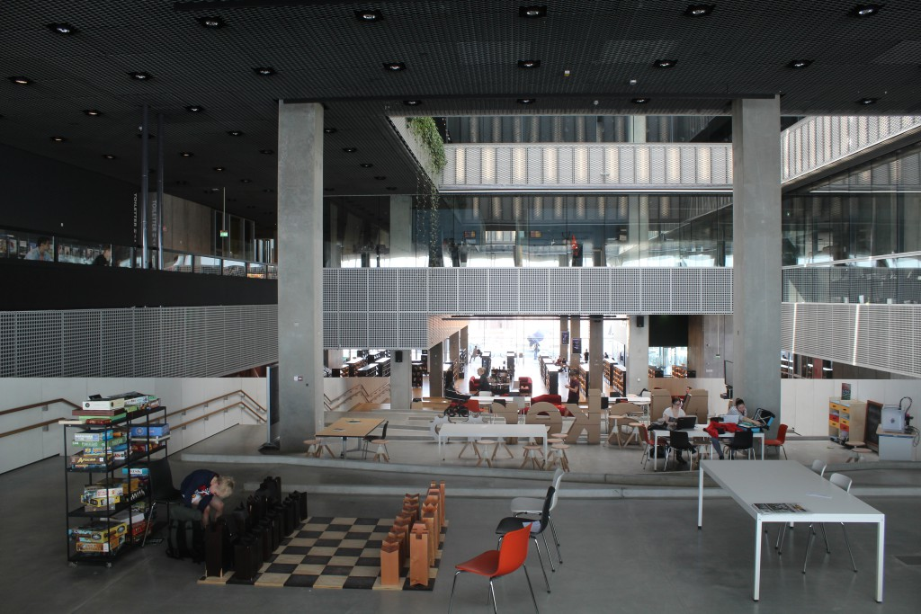 Library on first and second floor. View from