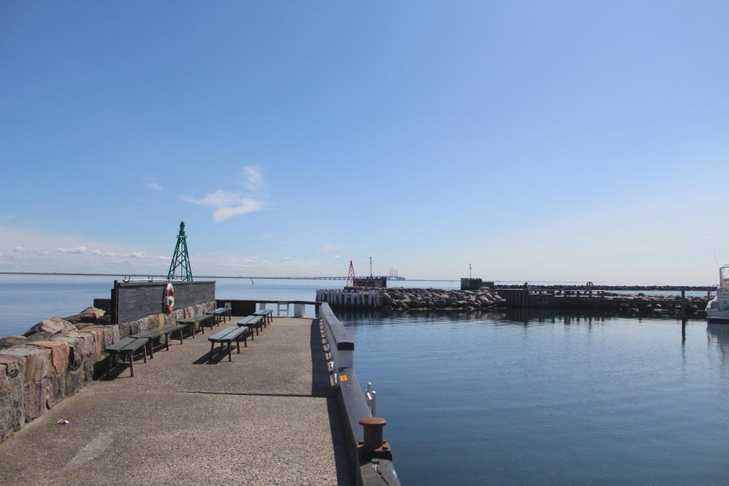 View in direction east to Øresund, Øresund Bridge and Sweden from entrance to Dragoer Harbour. Photo 27. may 2016 by Erik K Abrahamsen.