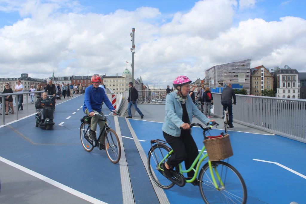 On top of walk- and bike bridge Inderhavnsbroen. Photo n direction north 9. july 2016 by Erik K Abrahamnsen