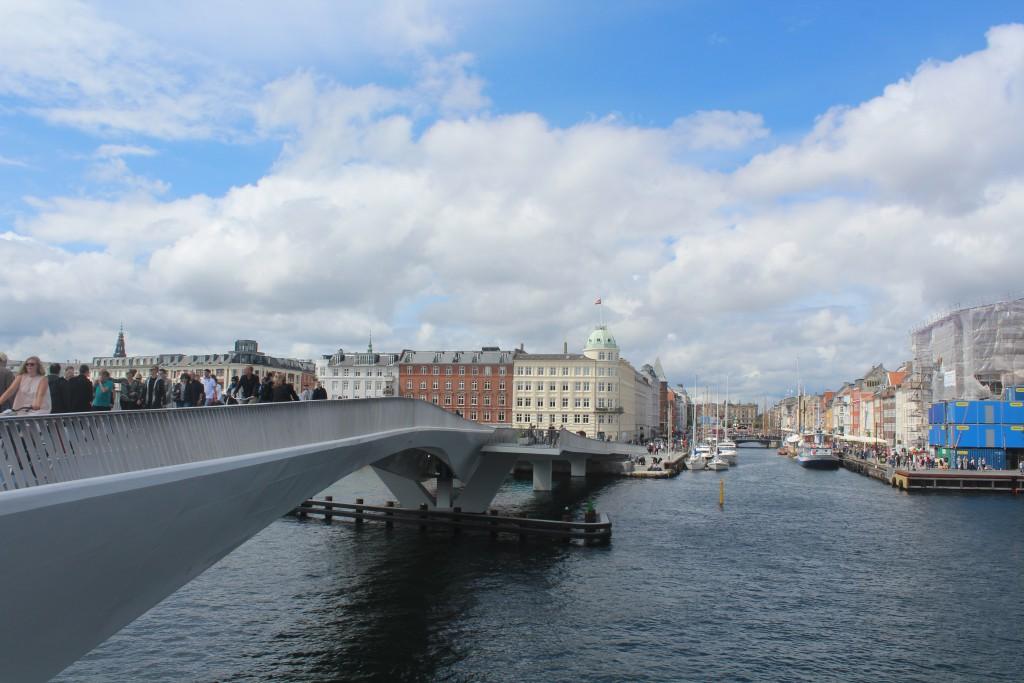 View in direction north from top of new walk-and bike bridge Inderhavnsbroen