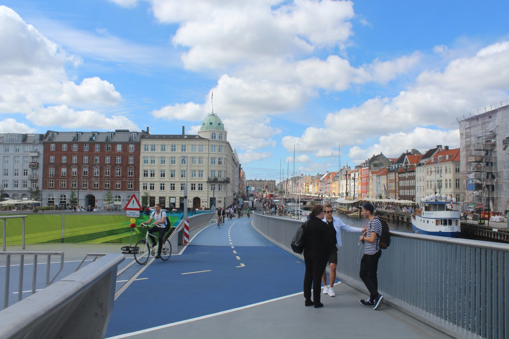 "View to Nyhavn from new walk-and bike bridge ""Inderhavns"