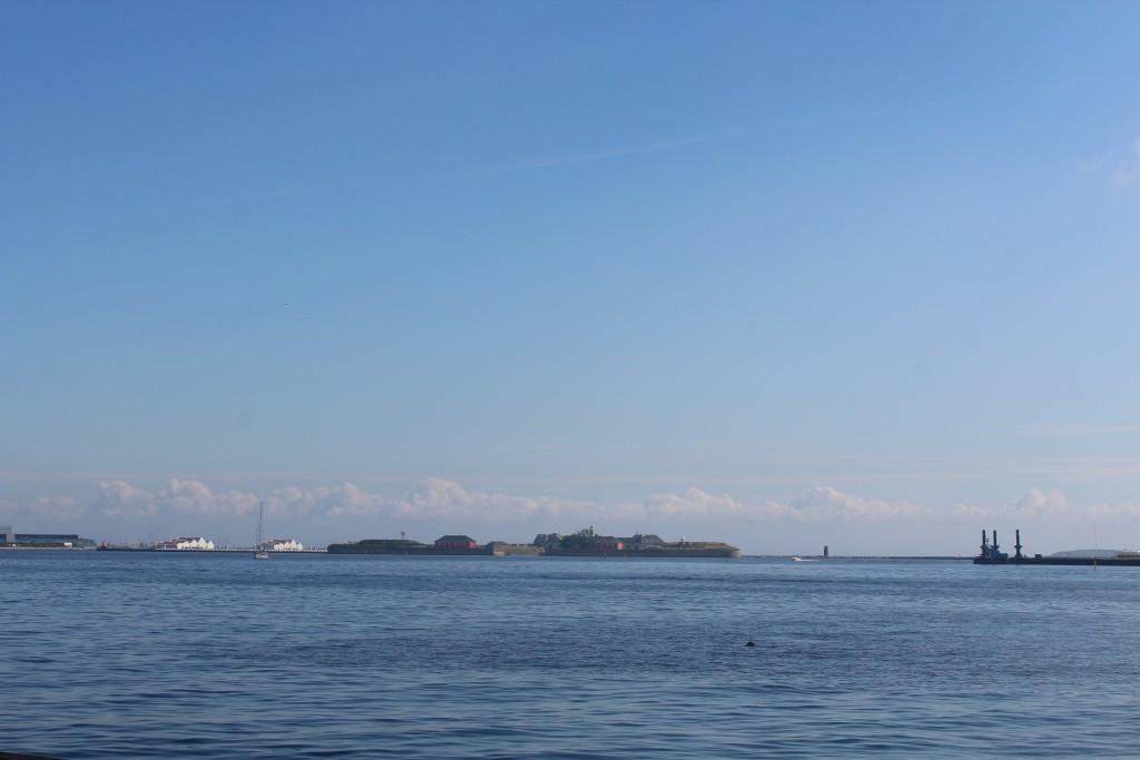 Entrance of Copenhagen Inner Harbour. View to Fortress Trekroner and