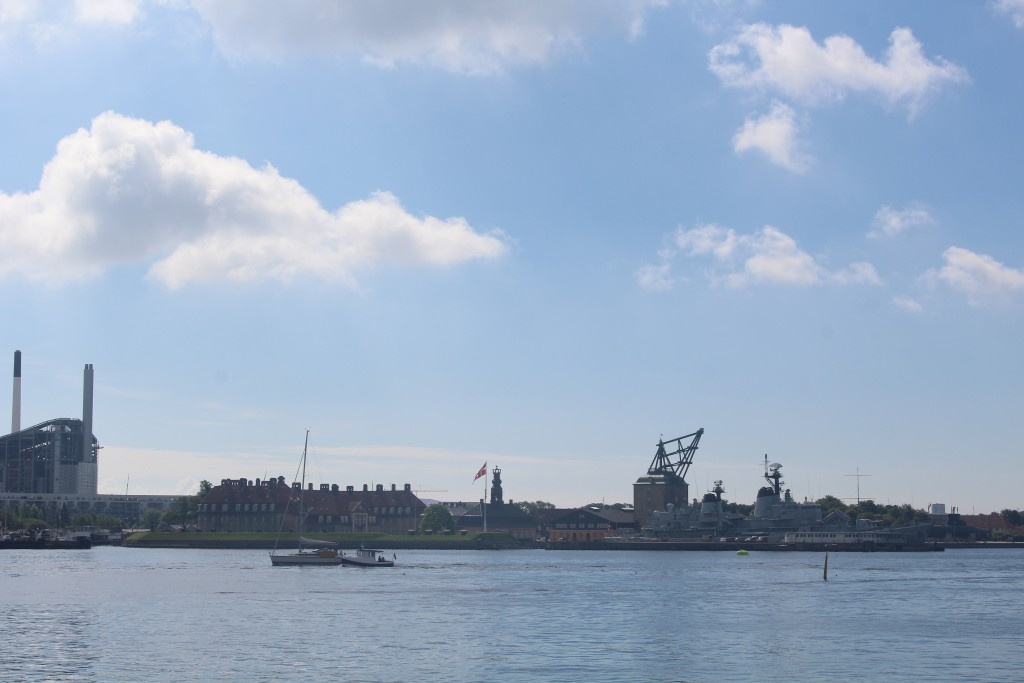 Copenhagen Inner Harbour. View to island Amager and naval Base