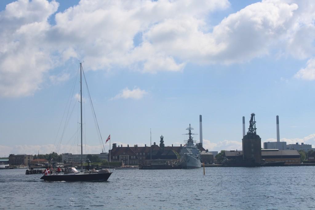 View to Naval Base Holmen built 1880-1989. Mastekranen built 1749. Museum ship Heluf Troll buil 1965. Photo