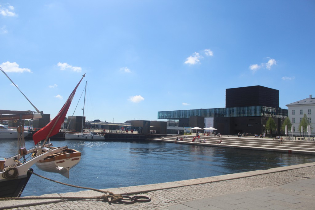 View to Olelia Place at quay Kvæsthusbroen and Copenhagen Theatre