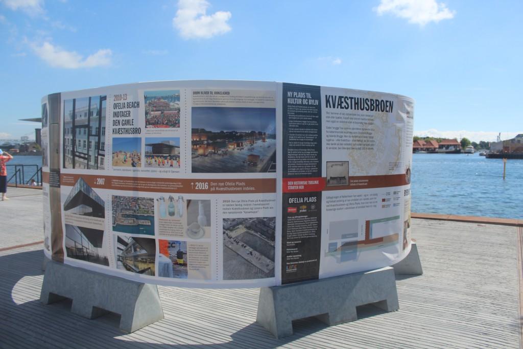 Plate of history of Quay Kvæsthusmolen and Ofelia Plads 1600-2016- Photo 20 july by Erik K Abrahamsen.