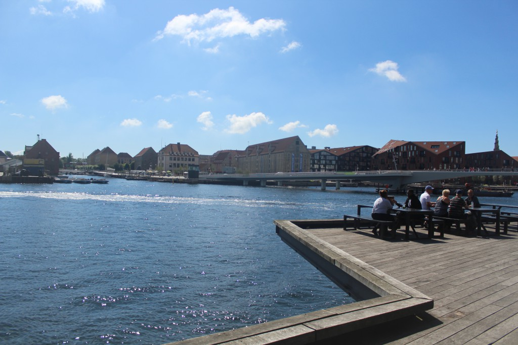 "View to 2 new bike- and walk bridges. Trangravsbroen at left and ""Inderhavnsbroen at right"