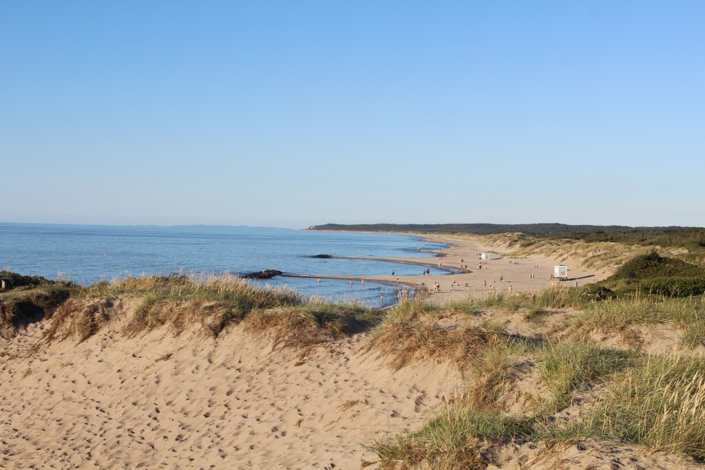 Liseleje Beach at Kattegat Sea. Photo in direction east to Tisvilde Hegbn, Tisvildele beach and cliff