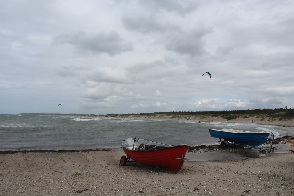 """Liseleje Beach, North Sealand. View from """"Pynten"""" built 1911 to fishing boats on shore."""