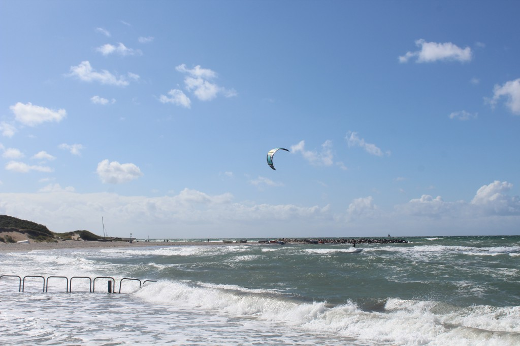 """Liseleje Beach. View in direction west to """"Pynten"""" with breakwater built 1911"""