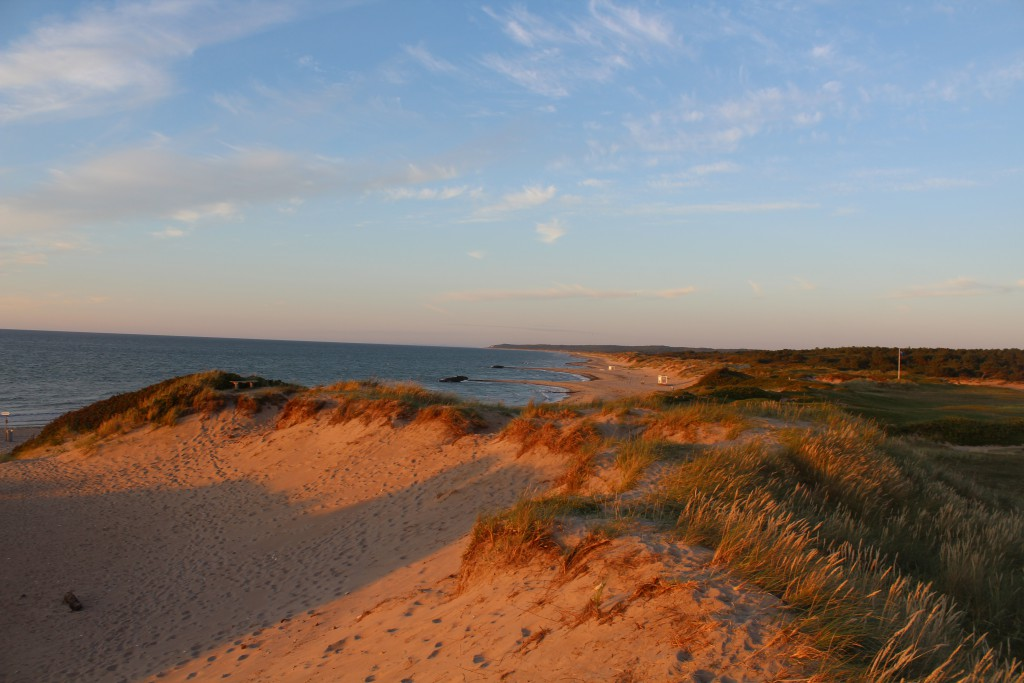 Liseleje beach. View in direction east to Tisvilde hegn and Tisvildeleje, Photo 8.30 PM