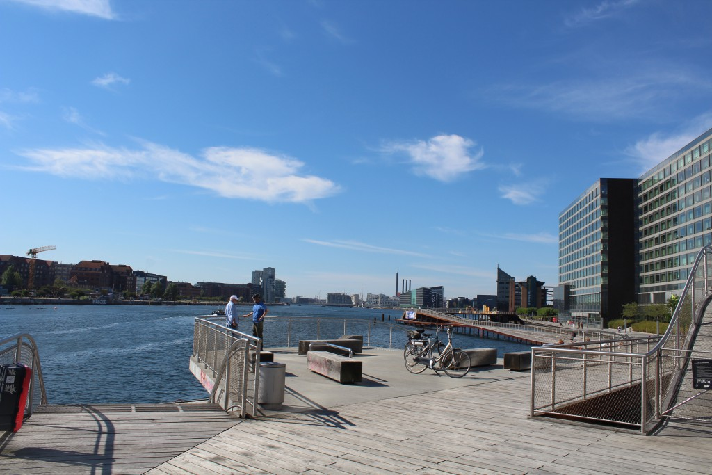 View to Kalvebod Wave at north side of Copenhagen Inner Harbour. Phoot in direction west to Islands Brygge on Amage