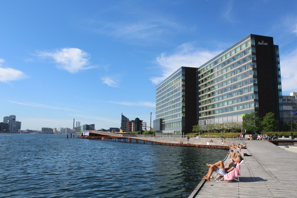 """View from """"Kalvebod Wave"""" to Marriott Hotel on north side of Copenhagen Inner Harbour"""