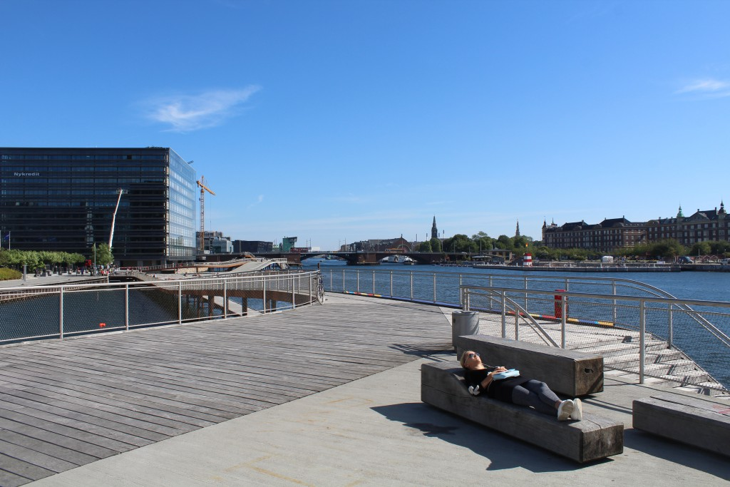 "View from ""Kalvebod Wave"" to Nukredit Domicile, bridge langebro and Islands Brygge at Copenhagen Inner Harbour. Photo in direction east"